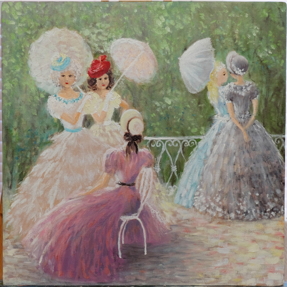 Картина маслом «Дамочки — подружки»