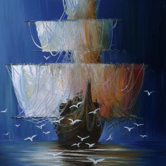 Картина маслом «Корабль с чайками»