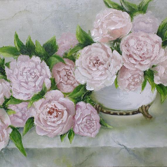 Картина маслом «Пионы в вазе»