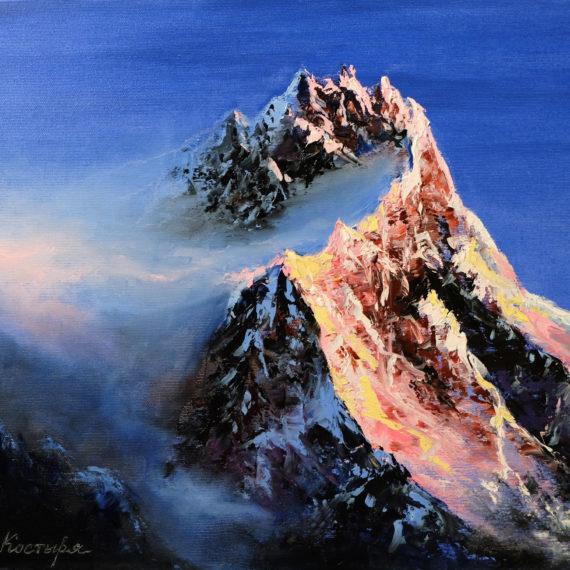 Картина маслом «Горная вершина»