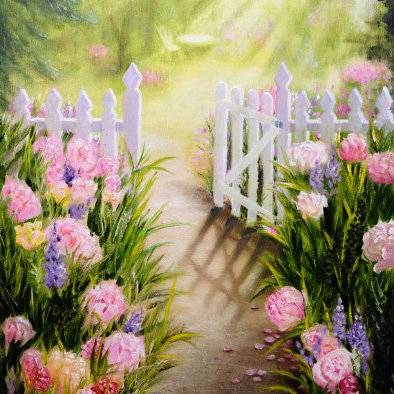Картина маслом «Цветущий дворик» (60х40см)
