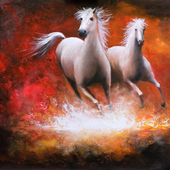 Картина маслом «Бегущие лошади» (60х70см)