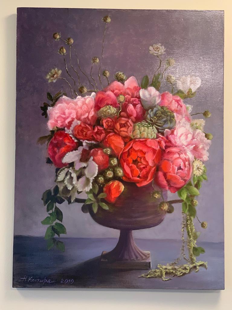 Картина маслом «Коралловый букет пионов»